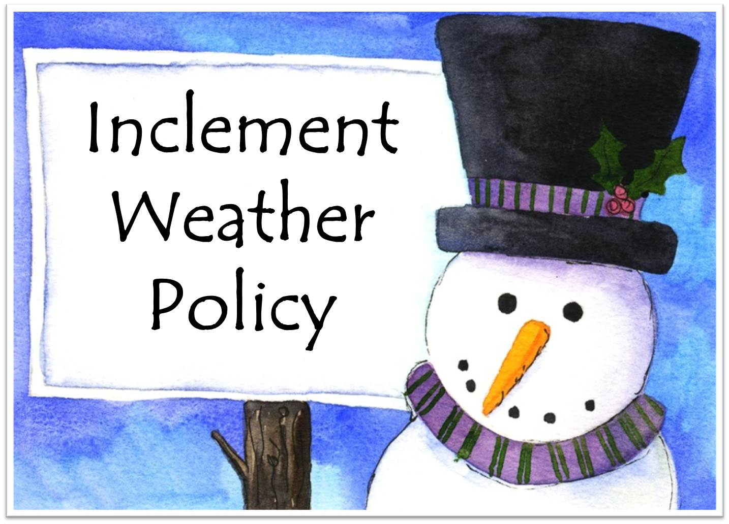 inclement weather policy The following information covers the policy and procedures governing university closings and delays during inclement weather.